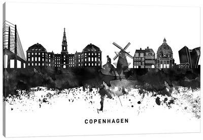 Copenhagen Skyline Black & White Canvas Art Print