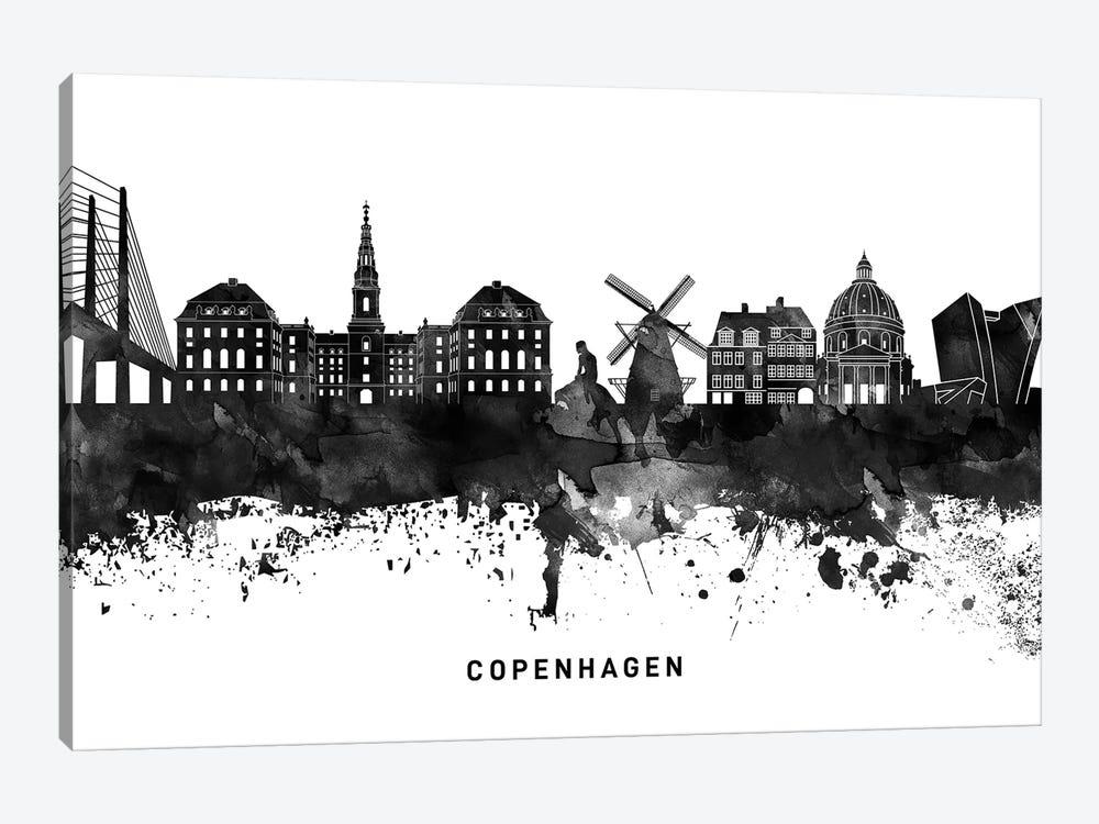 Copenhagen Skyline Black & White by WallDecorAddict 1-piece Canvas Art Print