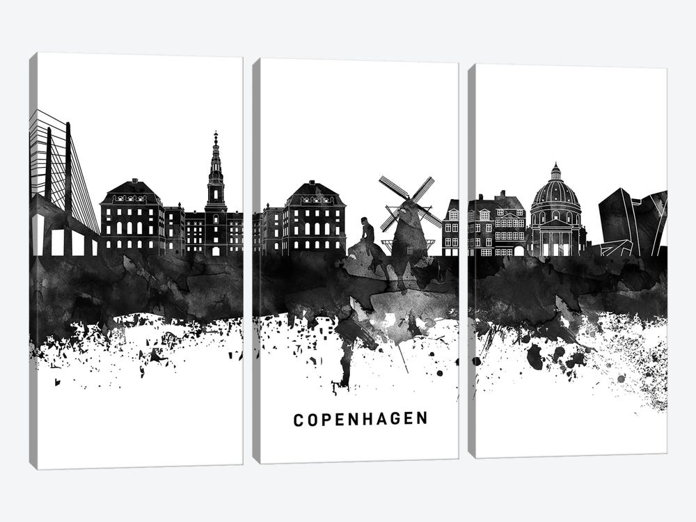 Copenhagen Skyline Black & White by WallDecorAddict 3-piece Art Print