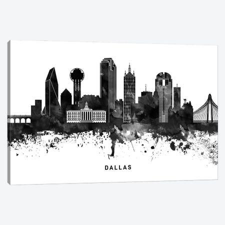 Dallas Skyline Black & White Canvas Print #WDA762} by WallDecorAddict Canvas Wall Art