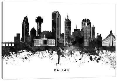 Dallas Skyline Black & White Canvas Art Print
