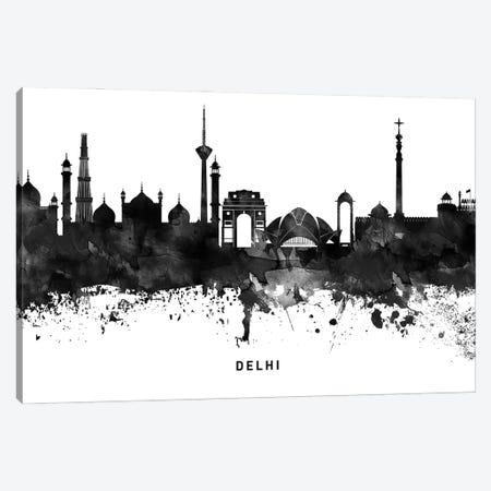 Delhi Skyline Black & White Canvas Print #WDA763} by WallDecorAddict Canvas Wall Art