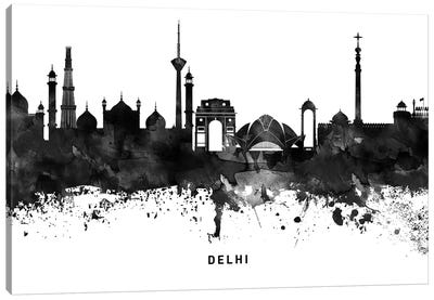 Delhi Skyline Black & White Canvas Art Print