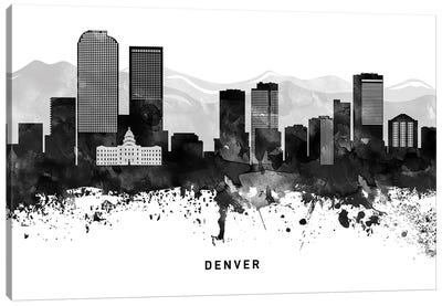 Denver Skyline Black & White Canvas Art Print