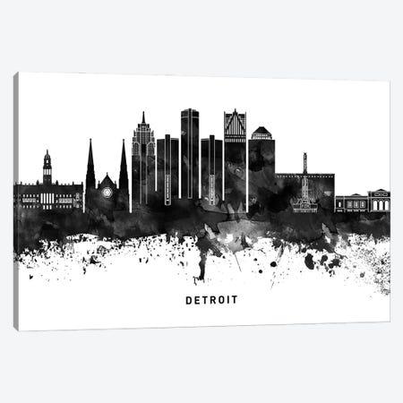 Detroit Skyline Black & White Canvas Print #WDA765} by WallDecorAddict Art Print