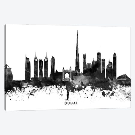 Dubai Skyline Black & White Canvas Print #WDA766} by WallDecorAddict Art Print