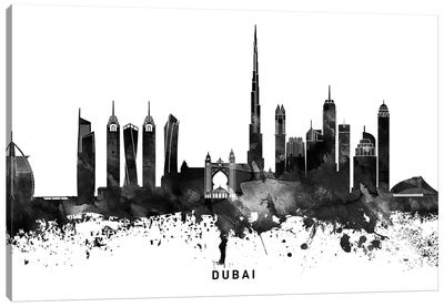 Dubai Skyline Black & White Canvas Art Print