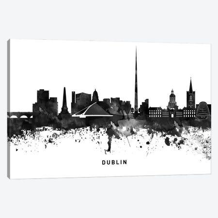 Dublin Skyline Black & White Canvas Print #WDA767} by WallDecorAddict Canvas Art Print