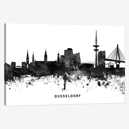 Dusseldorf Skyline Black & White Canvas Print #WDA768} by WallDecorAddict Canvas Artwork