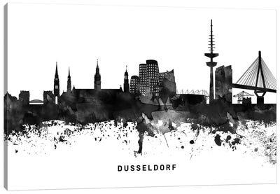 Dusseldorf Skyline Black & White Canvas Art Print