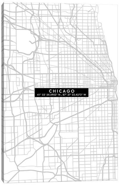 Chicago City Map Minimal Canvas Art Print
