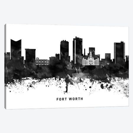 Fort Worth Skyline Black & White Canvas Print #WDA773} by WallDecorAddict Canvas Art Print