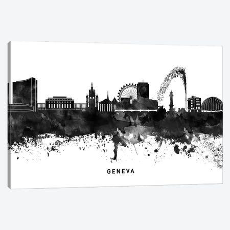 Geneva Skyline Black & White Canvas Print #WDA774} by WallDecorAddict Canvas Artwork
