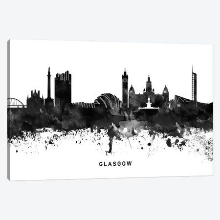 Glasgow Skyline Black & White Canvas Print #WDA775} by WallDecorAddict Canvas Art