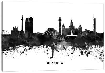 Glasgow Skyline Black & White Canvas Art Print