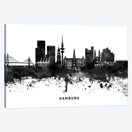 Hamburg Skyline Black & White Canvas Print #WDA778} by WallDecorAddict Canvas Art Print