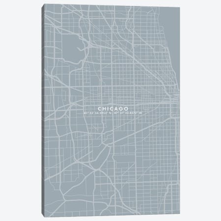 Chicago City Map Simplecolor Canvas Print #WDA77} by WallDecorAddict Canvas Art Print