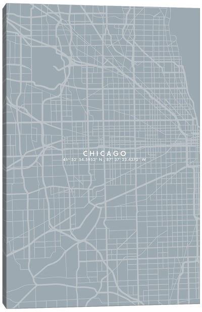 Chicago City Map Simplecolor Canvas Art Print