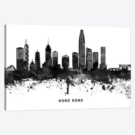 Hong Kong Skyline Black & White Canvas Print #WDA781} by WallDecorAddict Canvas Wall Art