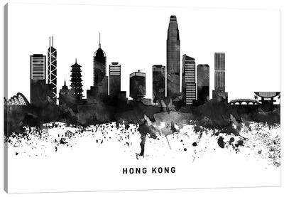 Hong Kong Skyline Black & White Canvas Art Print