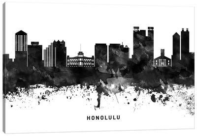 Honolulu Skyline Black & White Canvas Art Print