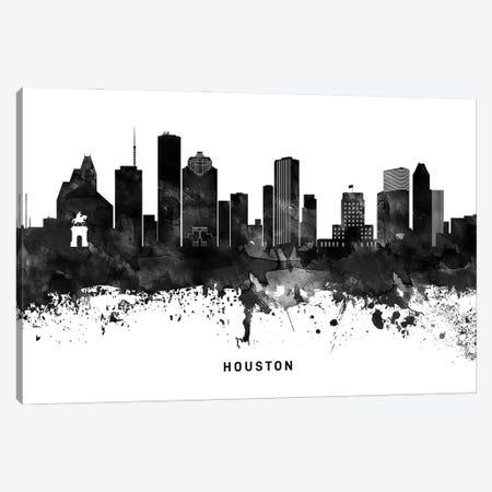 Houston Skyline Black & White Canvas Print #WDA783} by WallDecorAddict Canvas Art