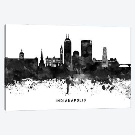 Indianapolis Skyline Black & White Canvas Print #WDA784} by WallDecorAddict Canvas Print