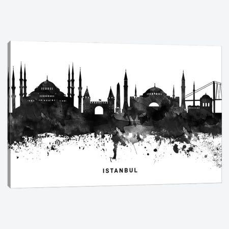 Istanbul Skyline Black & White Canvas Print #WDA785} by WallDecorAddict Canvas Art Print