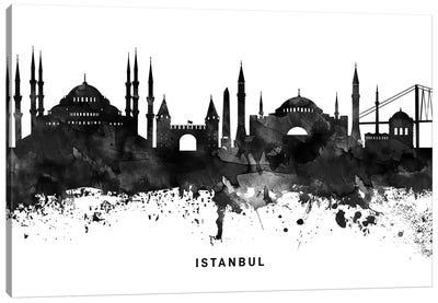 Istanbul Skyline Black & White Canvas Art Print