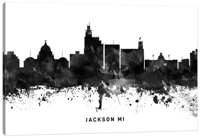 Jackson Mi Skyline Black & White Canvas Art Print