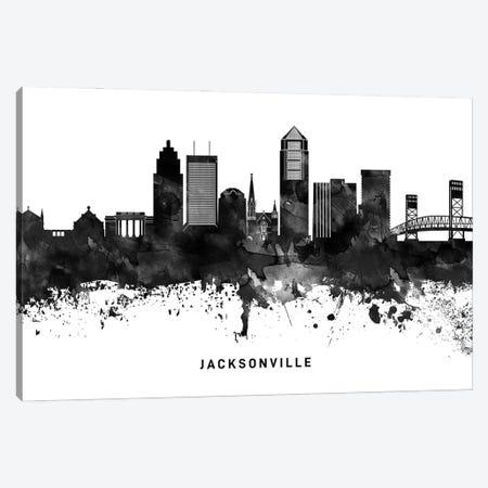 Jacksonville Skyline Black & White Canvas Print #WDA787} by WallDecorAddict Art Print