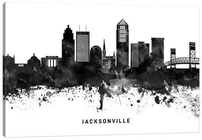 Jacksonville Skyline Black & White Canvas Art Print