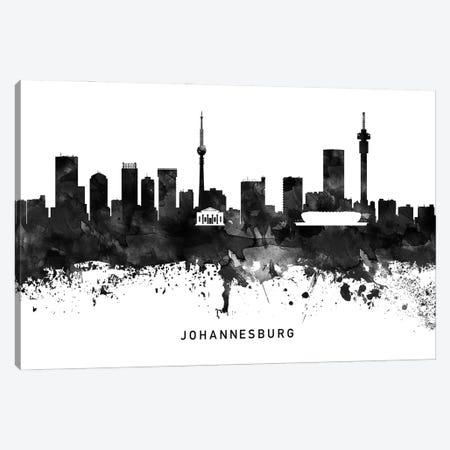 Johannesburg Skyline Black & White Canvas Print #WDA788} by WallDecorAddict Canvas Artwork