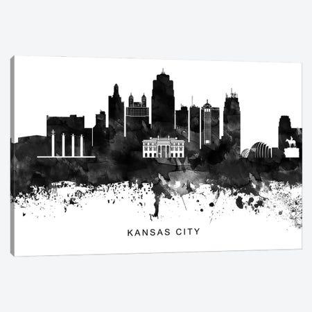 Kansas City Skyline Black & White Canvas Print #WDA789} by WallDecorAddict Canvas Artwork