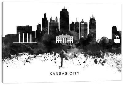 Kansas City Skyline Black & White Canvas Art Print