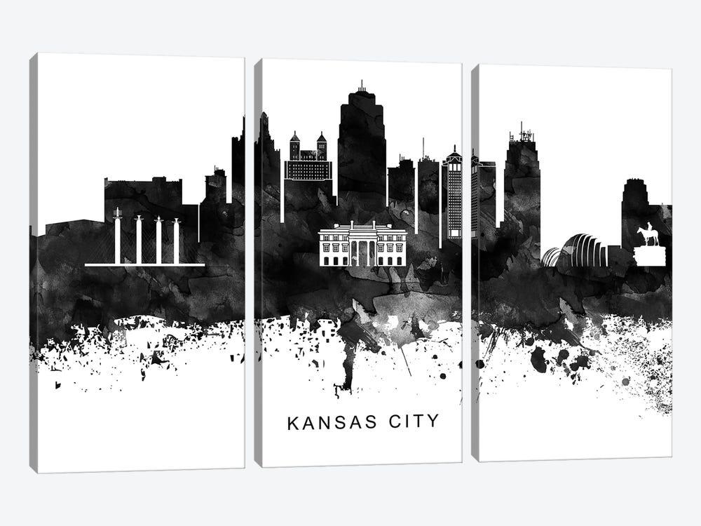 Kansas City Skyline Black & White by WallDecorAddict 3-piece Art Print