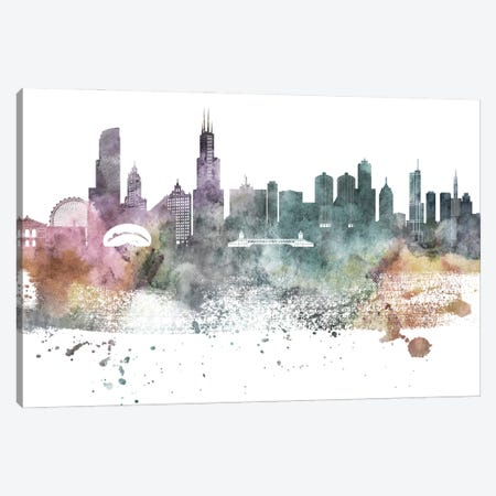Chicago Pastel Skylines Canvas Print #WDA78} by WallDecorAddict Canvas Art