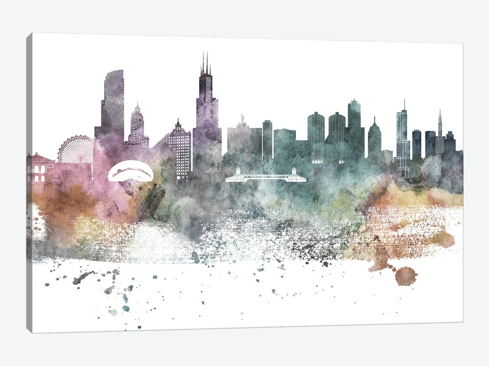 Chicago Pastel Skylines by WallDecorAddict 1-piece Canvas Wall Art