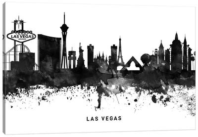 Las Vegas Skyline Black & White Canvas Art Print
