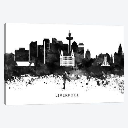 Liverpool Skyline Black & White Canvas Print #WDA796} by WallDecorAddict Canvas Artwork