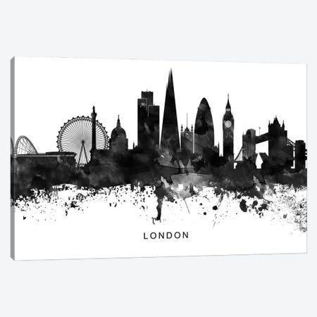 London Skyline Black & White Canvas Print #WDA797} by WallDecorAddict Canvas Artwork
