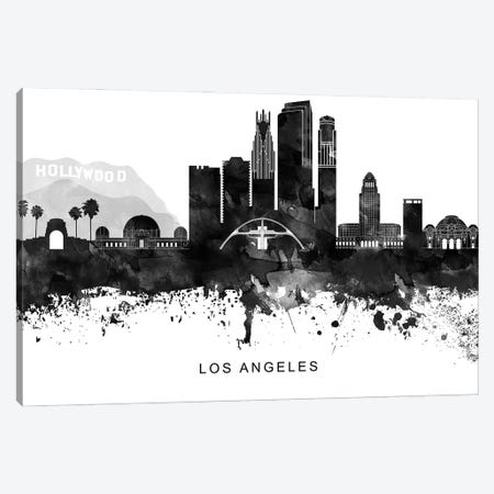 Los Angeles Skyline Black & White Canvas Print #WDA798} by WallDecorAddict Art Print