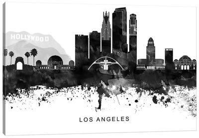Los Angeles Skyline Black & White Canvas Art Print