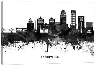 Louisville Skyline Black & White Canvas Art Print