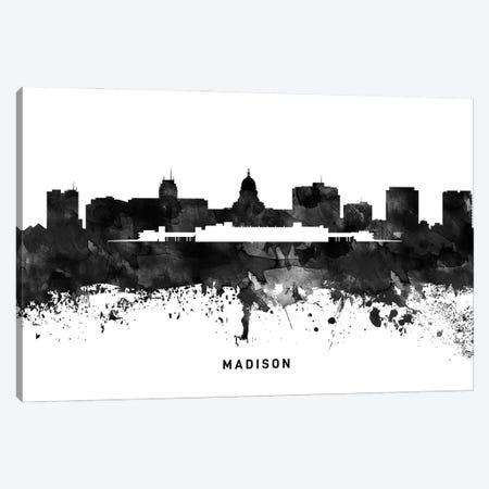 Madison Skyline Black & White Canvas Print #WDA801} by WallDecorAddict Canvas Print
