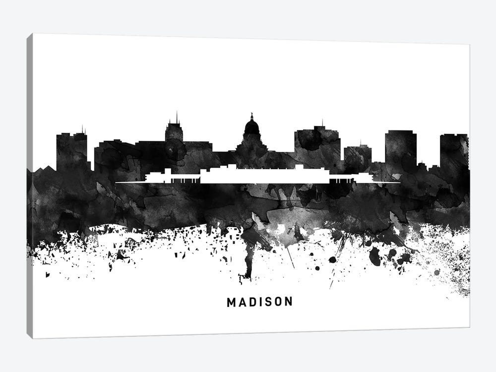 Madison Skyline Black & White by WallDecorAddict 1-piece Canvas Art Print
