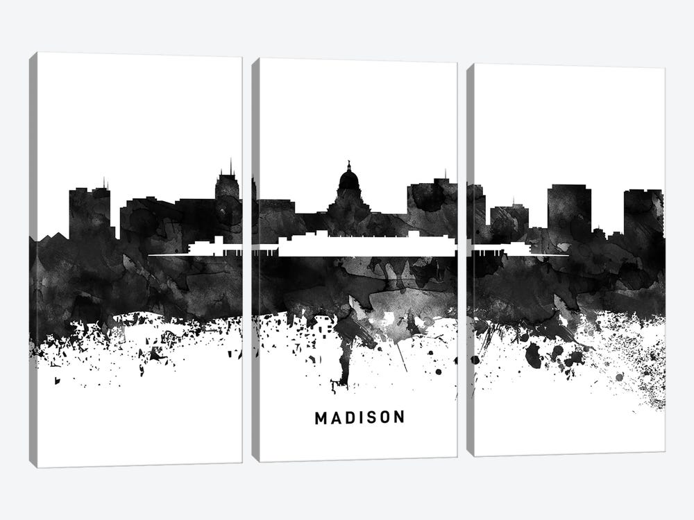 Madison Skyline Black & White by WallDecorAddict 3-piece Canvas Art Print