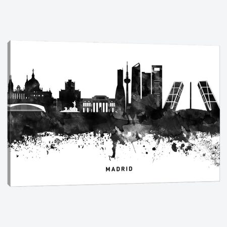 Madrid Skyline Black & White Canvas Print #WDA802} by WallDecorAddict Canvas Art Print