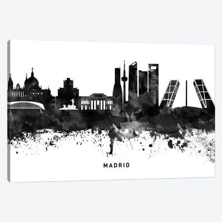 Madrid Skyline Black & White Canvas Print #WDA802} by WallDecorAddict Canvas Art Print