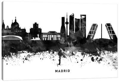 Madrid Skyline Black & White Canvas Art Print